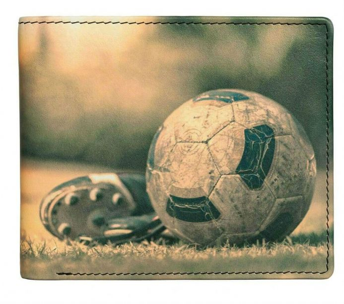 Kalmin Leather Printed Billfold Football Wallet with RFID protection